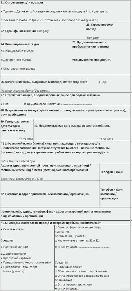 Анкета для получения визы в Венгрию на 2020 год. Образец и пример заполнения