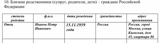 Образец заполнения заявления на РВП в 2020 году
